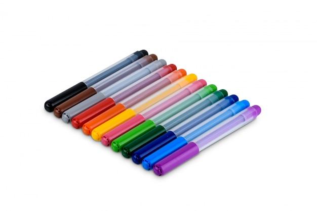 Ensemble de stylo marqueur coloré isolé