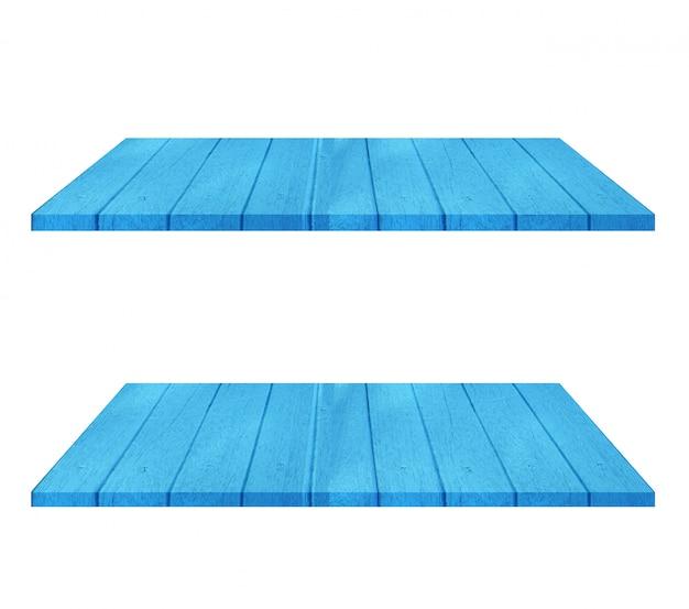 Ensemble de table d'étagère en bois bleu vide sur fond blanc. montage de votre produit