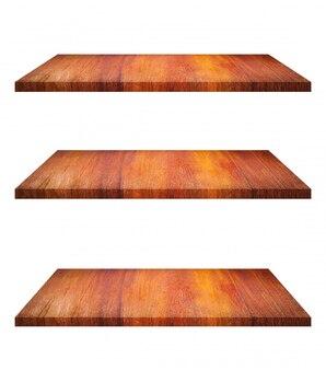 Ensemble de table d'étagère en bois brun vide sur fond blanc. montage de votre produit