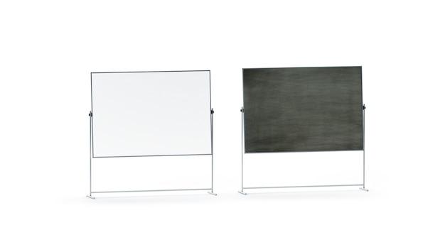 Ensemble de tableau de marqueur de bureau blanc et noir vierge, isolé,