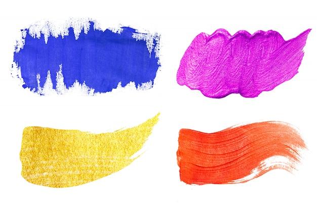 Ensemble de texture de peinture acrylique colorée sur blanc isolé