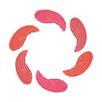 Ensemble de traits de rouge à lèvres, modèle de taches de maquillage isolé sur blanc