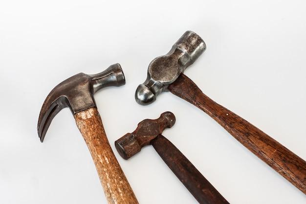 Ensemble de trois charpentier de menuiserie marteau vintage