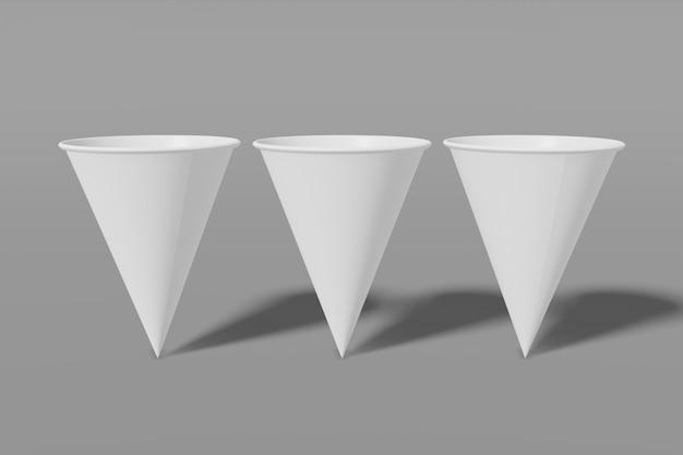 Ensemble de trois gobelets en papier blanc en forme de cône en rendu 3d.
