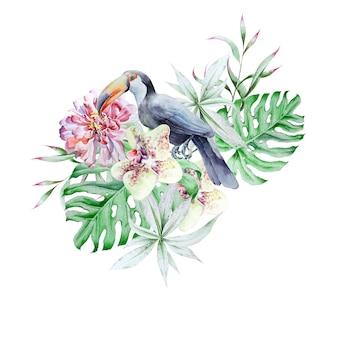 Ensemble tropical avec des feuilles et des fleurs d'oiseaux. pivoine. tucan. monstera. orchidée. illustration à l'aquarelle. dessiné à la main.
