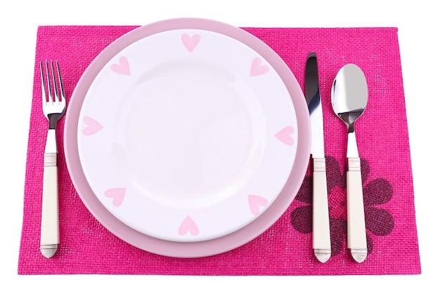Ensemble d'ustensiles pour le dîner, sur blanc