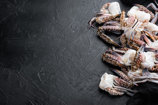 Ensemble de viande de crabe de natation bleu frais, sur fond noir, avec copyspace et espace pour le texte