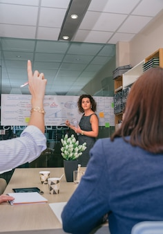 Entraîneur féminin regardant la femme avec l'index jusqu'à poser la question lors d'une réunion d'affaires