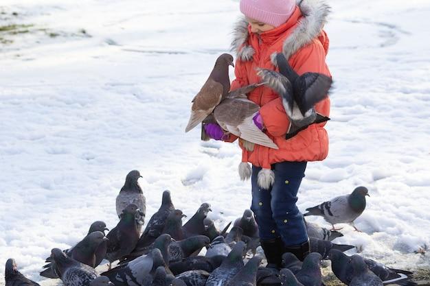 Entre les mains de la jeune fille en hiver sont assis des pigeons et des grains de colle. mise au point sélective.