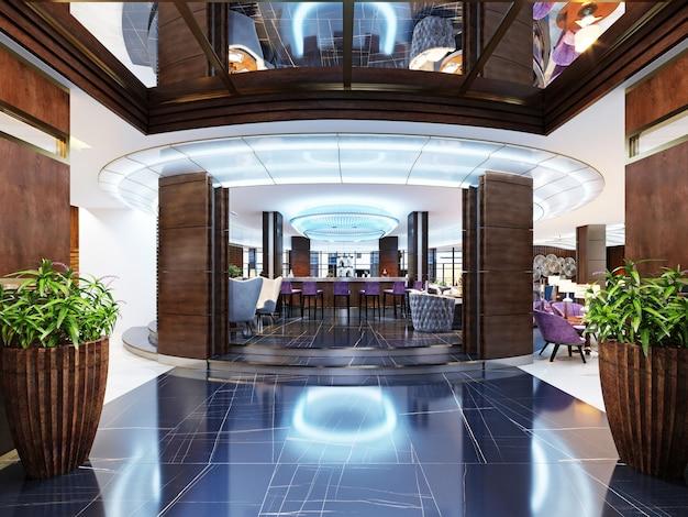 L'entrée du bar est un restaurant d'un hôtel de luxe dans un style moderne. rendu 3d