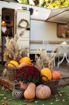 Entrée de maison décorée avec des citrouilles et des chrysanthèmes