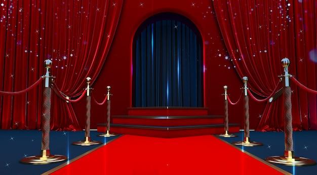 Entrée tapis rouge avec barrières et cordes de velours.