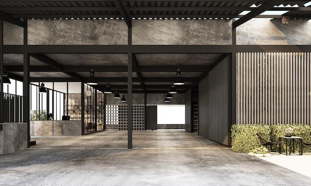 Entrepôt industriel moderne avec espace de travail et usine de salon avec rendu 3d de design d'intérieur de texture béton et métal