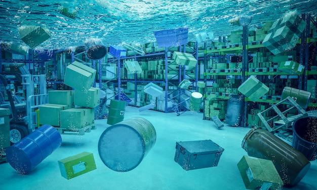 Entrepôt inondé en 3d