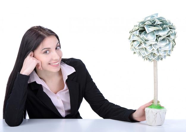 Entreprise de belle jeune femme faire fructifier de l'argent.