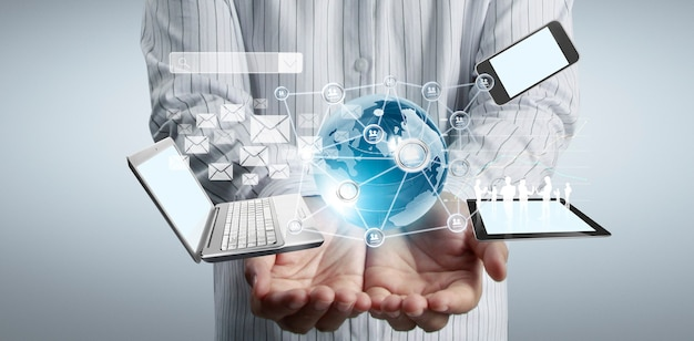 Entreprise de technologie dans l'homme de mains