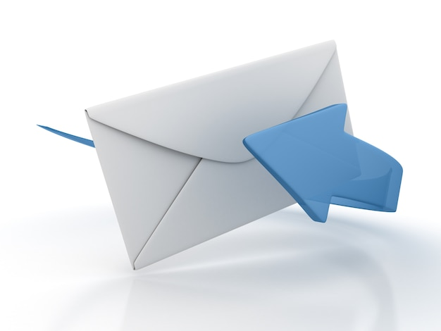 Enveloppe 3d avec flèche