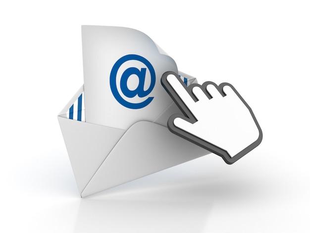 Enveloppe 3d avec symbole at et curseur à main d'ordinateur