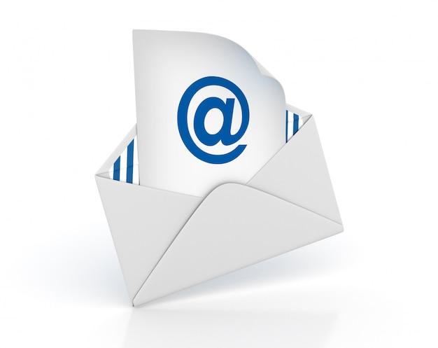 Enveloppe 3d avec symbole at