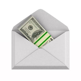 Enveloppe avec de l'argent sur blanc.