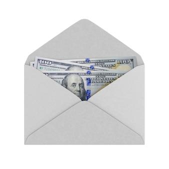 Enveloppe avec de l'argent sur fond blanc. illustration 3d isolée