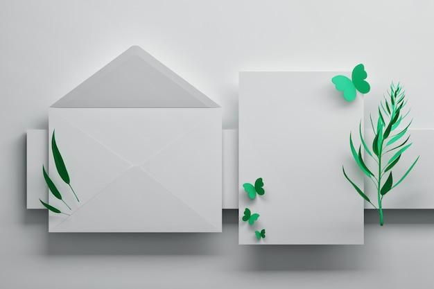 Enveloppe blanche et carte d'invitation avec des papillons