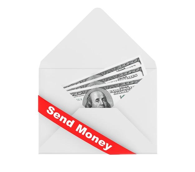 Enveloppe avec des dollars billls et envoyer de l'argent signer sur fond blanc