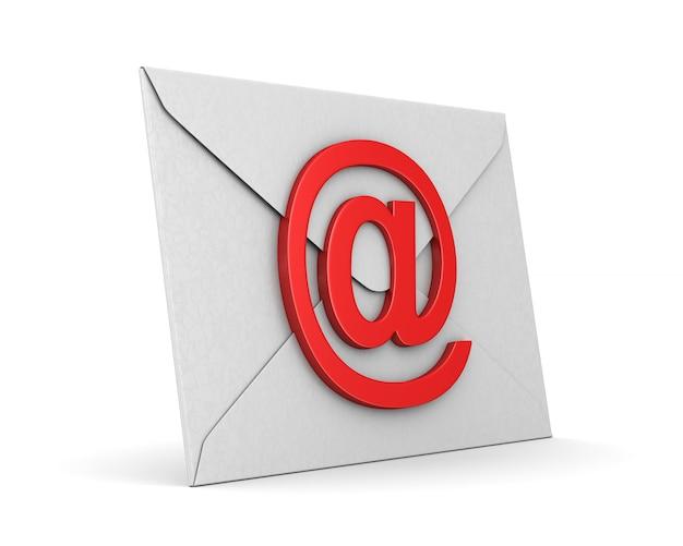 Enveloppe fermée et e-mail de symbole sur blanc.