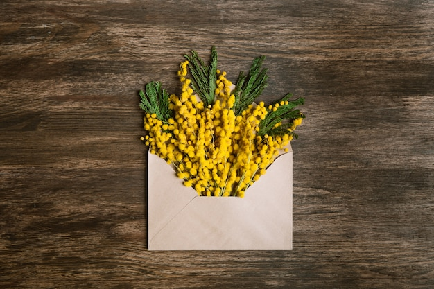 Enveloppe avec des fleurs jaunes et feuilles vertes