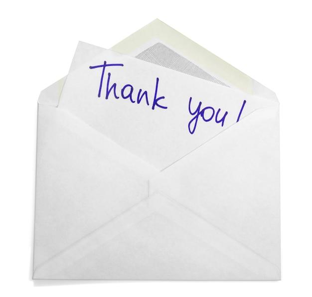 Enveloppe avec note de remerciement