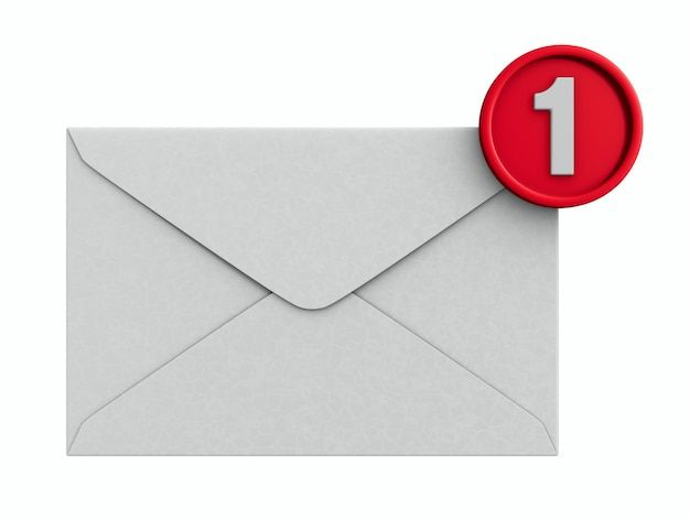 Enveloppe avec notification sur blanc.