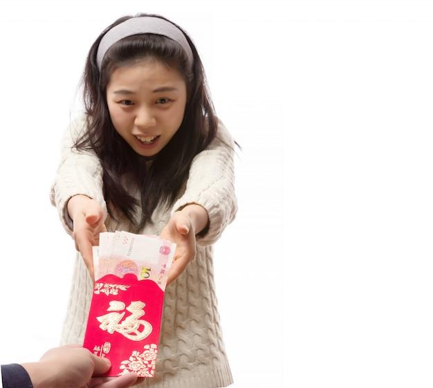 Enveloppe de prospérité mandarin fond sourire