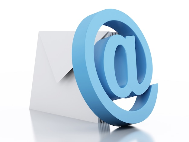 Enveloppes 3d avec signe de courrier électronique sur fond blanc