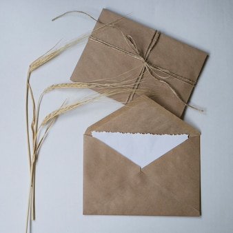 Enveloppes à fleurs sèches et kraft sur fond blanc.