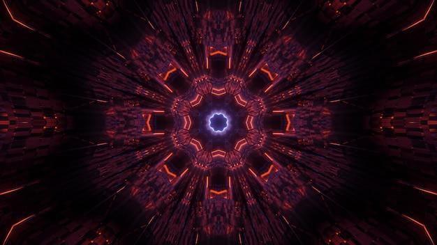 Environnement cosmique avec des lumières laser au néon colorées