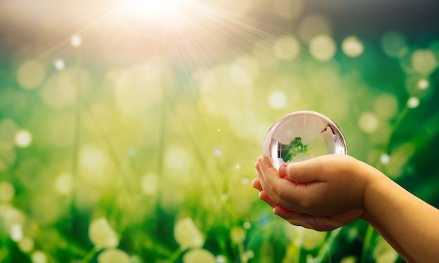 L'environnement sauve le concept d'écologie de la planète propre mains d'enfant tenant un globe terrestre en cristal
