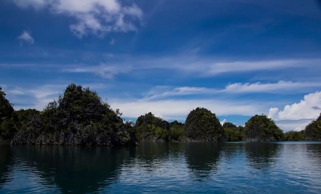Environnement tropical des belles îles salomon avec des montagnes et une végétation tropicale