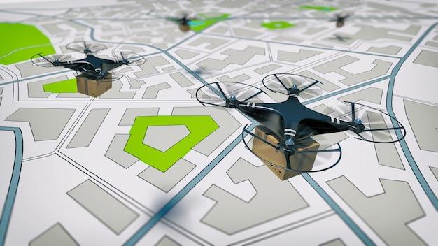 Envoi aérien d'un colis par drone uav avec guide autonome
