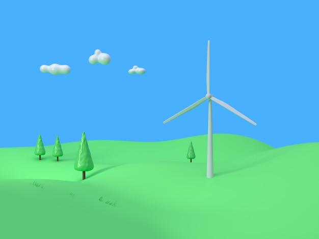 Éolienne champ vert montagne ciel bleu style de bande dessinée abstrait rendu 3d