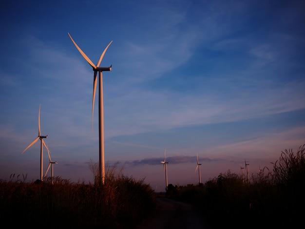 Éolienne, dans, champ herbe, à, crépuscule