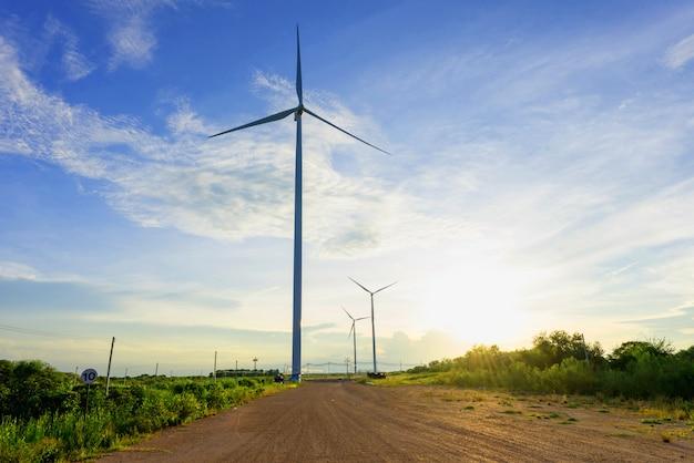 Éolienne sur le terrain