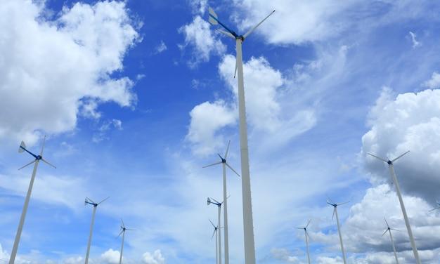 Éoliennes en ferme et ciel bleu