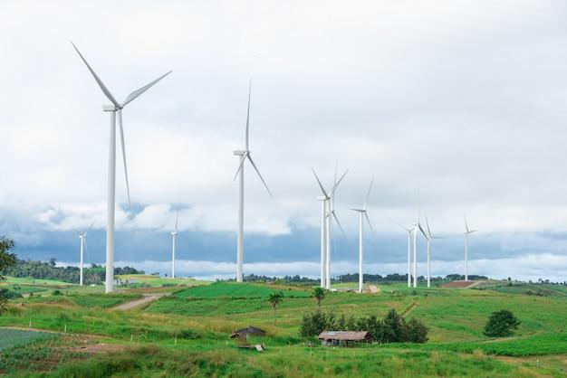 Éoliennes sur le terrain