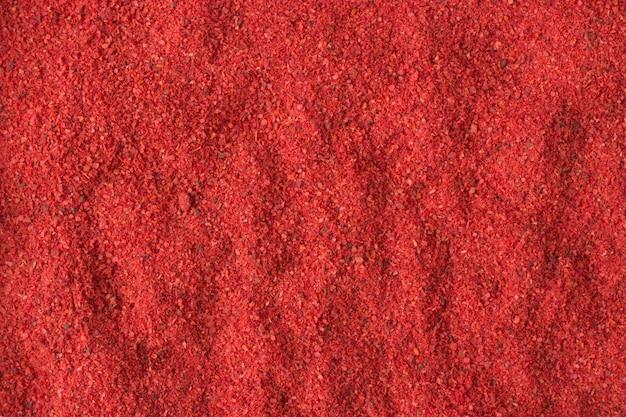 Épice de poudre de piment fort en arrière-plan, texture d'assaisonnement naturel