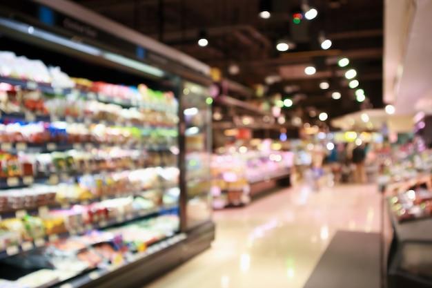 Épicerie supermarché abstrait flou fond défocalisé avec lumière bokeh