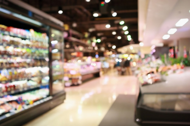 Épicerie de supermarché abstraite floue fond défocalisé avec lumière bokeh