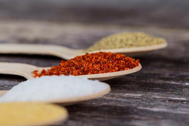 Épices aromatiques sur des cuillères en bois