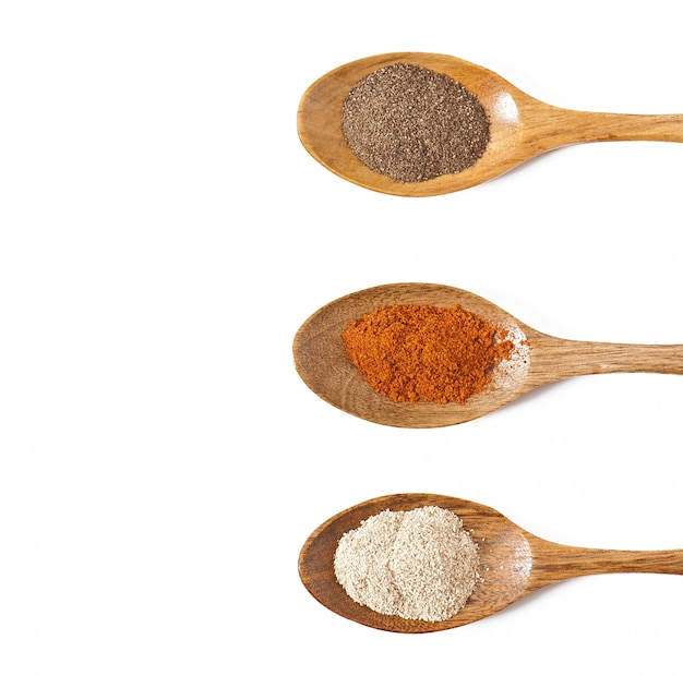 Épices chaudes dans des cuillères en bois