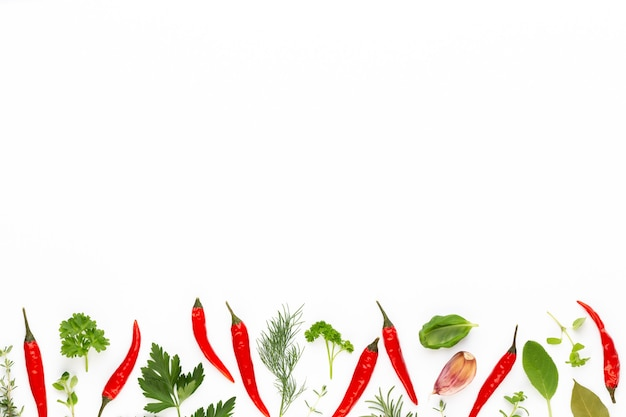Épices de feuilles d'herbes et de piment sur fond blanc.