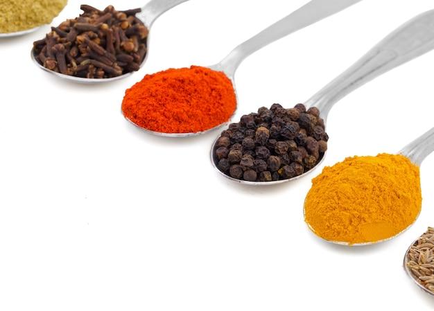 Épices indiennes dans des cuillères sur fond blanc